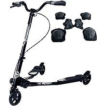 Sungle Scooter patinete de tres rueda plegable para niños (negro)