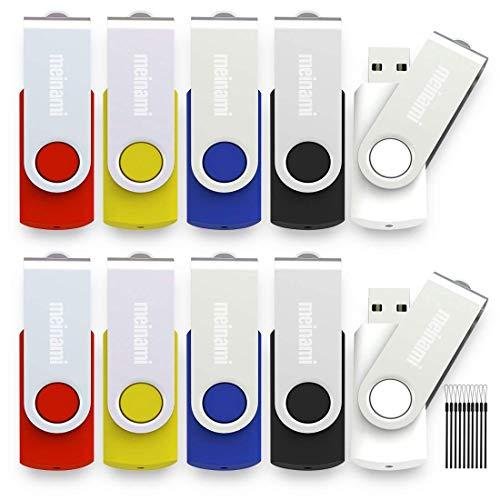 Meinami 10er Pack 4GB USB Stick Bunte USB 2.0 Swivel Rot, Blau, Gelb, Schwarz, Weiß - Swivel 4 Gb Usb