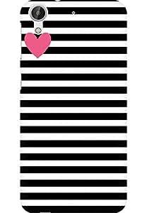 AMEZ designer printed 3d premium high quality back case cover for HTC Desire 626 (black white stripes pink heart)