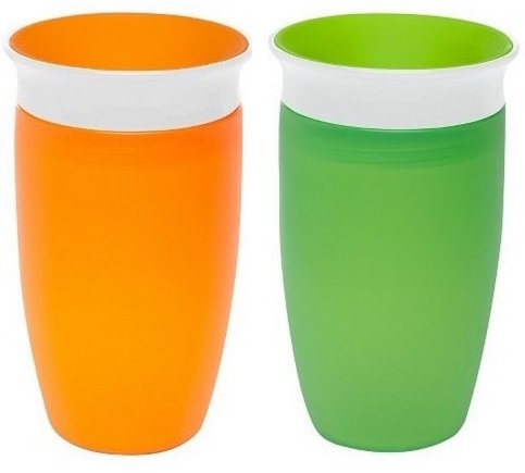 Munchkin Miracle 360ᵒ Trinkbecher 296 ml - 2er Pack (Farbe: Orange, Grün)
