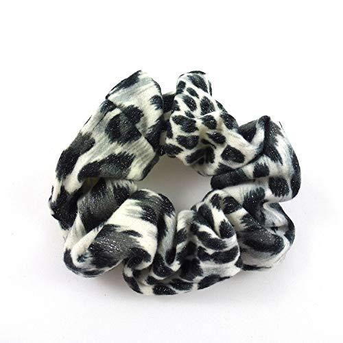 rougecaramel - Chouchou cheveux imprimé léopard pailleté noir