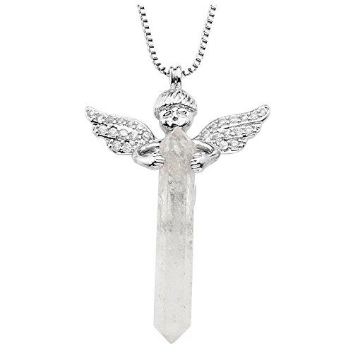 JOVIVI Schmuck,Healing Natürlich Edelstein Strass Anhänger Hexagon Säulen Engel Anhänger mit Kette Halskette,Bergkristall (Therapie Strass)