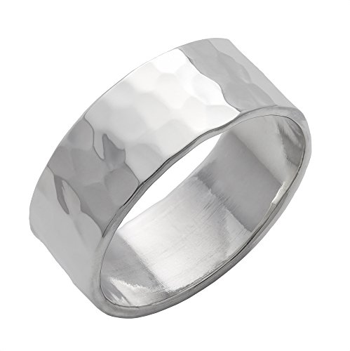 Silverly Herren Damen .925 Sterling Silber gehämmert Oberfläche poliert Flat Top Band 8mm Ring - Silber Band-ringe Breites