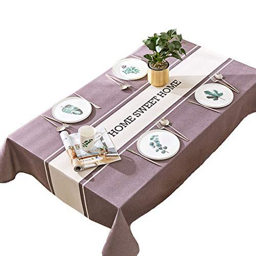 """Calyvina Wasserdichte Streifen Tischdecke rechteckige Tischabdeckung für Küche Party(55 W x 94 L Zoll),Purple,55""""×55""""(140 * 140cm)"""