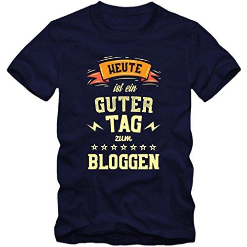 Heute ist ein guter Tag zum Bloggen Premium T-Shirt | HobbyShirt | Selfie | Blogger | Herren | Shirt © Shirt Happenz Dunkelblau (French Navy L190)