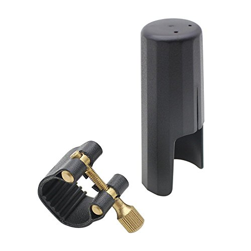 Sax Mundstueck - SODIAL(R) Leder Ligatur Verschluss mit Kappen aus Kunststoff fuer Tenor Saxophon Bakelit MundStueck