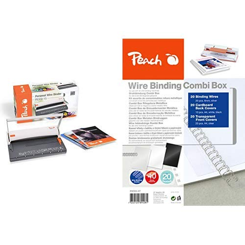 Peach PB300-15 Draht Bindemaschine | Personal Wire Binder Closer DIN-A4 | Testsieger* | bindet 60 Seiten | 8 mm Binderücken & PW064-07 Drahtbindeset für 20 Dokumente DIN A4, 60-teilig