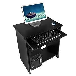 Harima - Khajoo Professionnel D'angle Poste de travail informatique / Table Informatique Meuble de bureau pour ordinateur avec tablette coulissante porte clavier Accueil PC de bureau - Noir