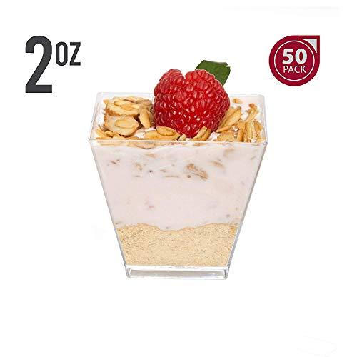 (JRing Fingerfood Schalen, 50 Stück Mini Dessertbecher/Plastikschalen für Outdoor Catering Hochzeit und Party Events (60 ml/Transparent))