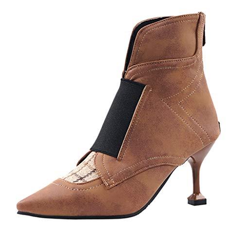 Fannyfuny Kurze Stiefel Damen Halbschaft Stiefel High Heel Stiefel Frauen Casual Elegant Stiletto High Heels Boots Winter Stiefel mit Stiefeln kältebeständig Party Hochzeit Abendschuhe Schwarz 35-39 -