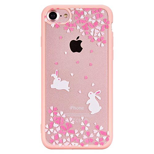 SMART LEGEND für iPhone 7 Weiche Hülle Bumper & Transparent Hart Acryl Candy Case Spring Blossom Cherry Muster Hartschale Schutzhülle Handyhülle Tasche Skin Cover Schale Stoßfest Hart Schutz Ultradünn Blume und Schwarz Hase