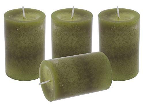 Unbekannt 4 Stumpenkerzen Kerzen Grün Olive Tischdeko Deko Adventskranz Weihnachten Hochzeit Kommunion Konfirmation