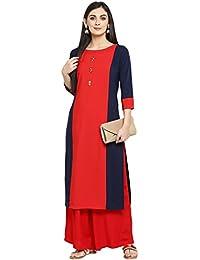 Ziyaa Women's Red Color Straight Crepe Solid Kurta(ZIKUCR2176)