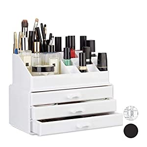 Relaxdays Small Organizer, 2-Piece Cosmetics Storage with Drawers, Stackable Makeup Shelf, White, 14 x 23.5 x 19 cm