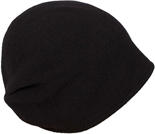 LOEVENICH modische Damen Beanie Wollmütze aus Reiner Schurwolle, Farbe: Schwarz
