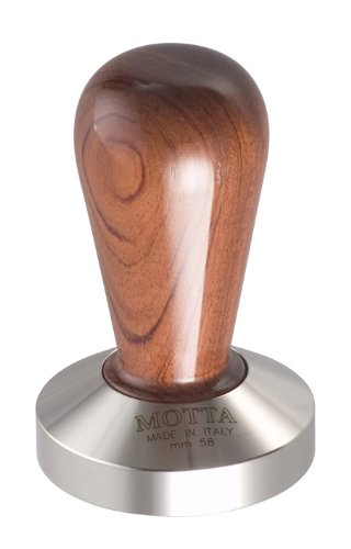 Motta 110 Professional Flat Base Coffee Tamper, 58mm, Bubinga Handle by Motta