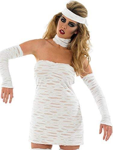 Fancy Me Damen 4 Stück Sexy Dead Ägyptisch Mumie Halloween Kostüm Kleid Outfit UK 8-16 - Weiß, 8-10