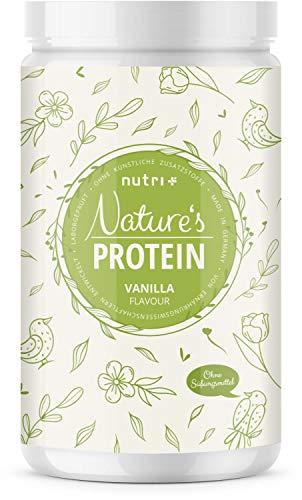 NATURES PROTEIN Vanille 500g - natürliches Proteinpulver ohne Süßungsmittel, Laktose, Zucker & Milch - 83,1% Eiweiß - pflanzliches Eiweißpulver - Shake in Deutschland hergestellt