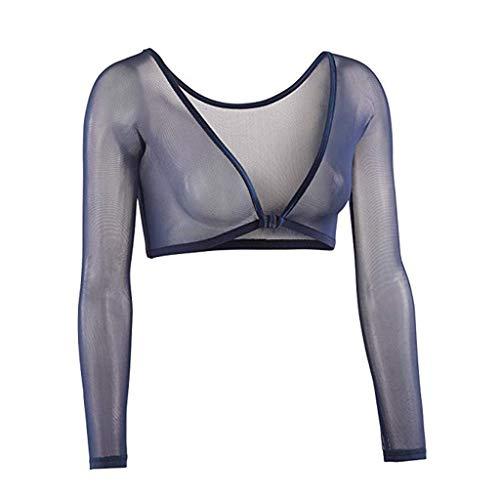 Einzigartiges Cross Wrap Slim Fit Langarm Crop Top mit tiefem V-Ausschnitt Sexy transparentes Futter Oberteil Allence -