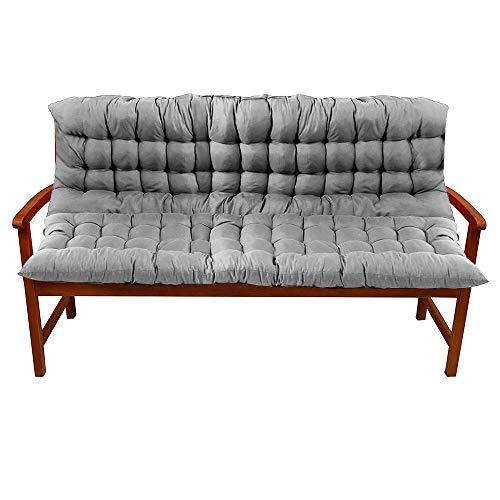 Enjoygoeu Bankauflage mit Rückenteil Bequeme Polsterauflage Bank Super Weich Sitzkissen mit Rückenkissen (150x100 cm, Grau)