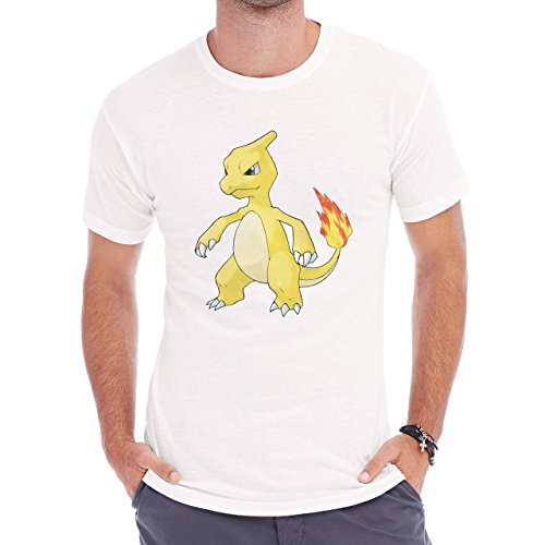 Pokemon Charmeleon Fire Dragon Yellow Herren T-Shirt Weiß