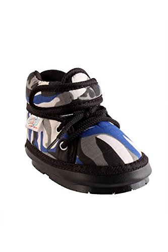 CHiU Black And Blue Chu-Chu Military Pattern Shoes Velcro With Lace For 20-24 Months