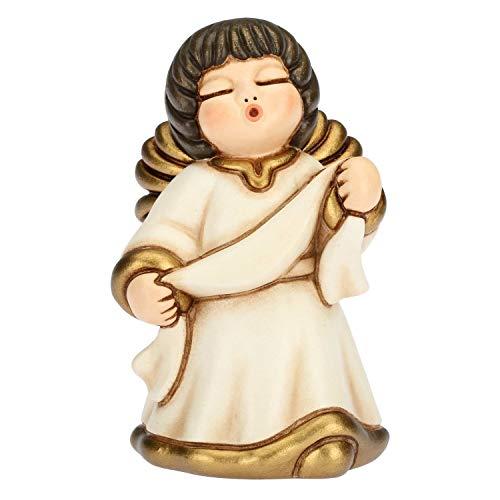 Thun® - angelo dell'annunciazione con targhetta personalizzabile - veste bianca - statuine presepe classico - ceramica - i classici