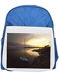 Alto ángulo de visión de velero en el mar, Stockholms skargard, Suecia impreso Kid s azul mochila, para mochilas, cute…