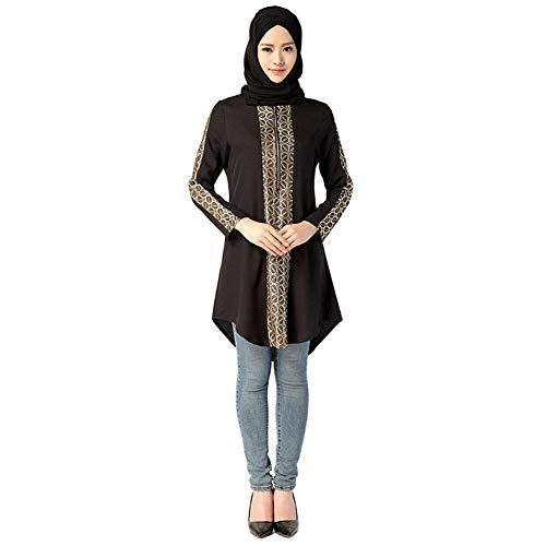 Meijunter Camisas de Mujer Musulmana - Camisa Arabe Abaya Vestido Blusa de Kaftan Islámico para Ramadán