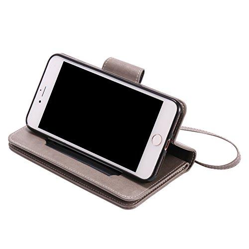 Cover per iPhone 7 Plus Zipper,Custodia per iPhone 8 Plus ,Bonice Premium Pelle Portafoglio Staccabile Detachable Removable Folio Protettivo Case Multiplo Card Slots Extra Multifunzionale Slot per Car Pattern 35