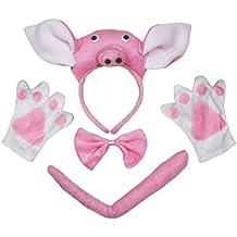 Petitebelle 3d rosa Pig diadema pajarita cola guantes 4 piezas Los niños fiestas de disfraces