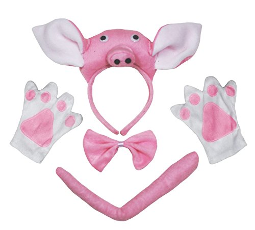 3D Pink Pig Headband Bowtie Tail Gloves 4pc Children Costume Birthday or Party ()