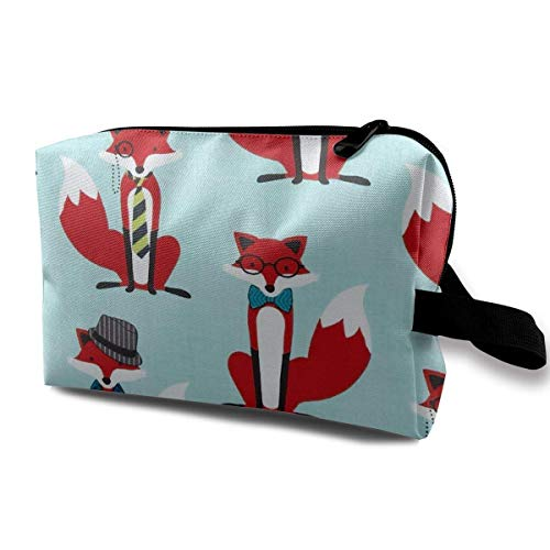 Rolling Organizer Duffel (Houndstooth Foxes Portable Travel Makeup Cosmetic Bags Organizer Multifunction Case Toiletry Bags)