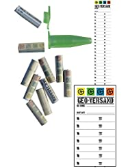 10 x Logstreifen für zB. magnetische Schraube Klappdeckel Nanos für MICNO (MICro naNO) mit Metallstift fertig gerollt, Geocaching Versteck, Logs, Logbuch, Nano, Micro, magnetisch