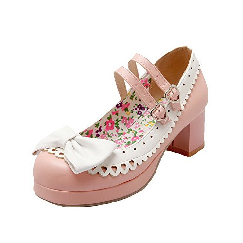 AllhqFashion Femme Rond à Talon Correct Matière Souple Boucle Chaussures Légeres Rose