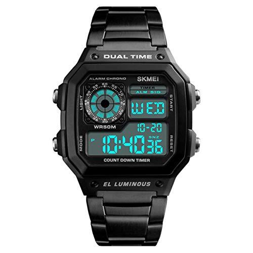 SENORS Herren Uhren Sport Digital LED Analoge Quarzuhr mit Edelstahl Armband Chronograph Datum Wasserdicht Schwarz Armbanduhr