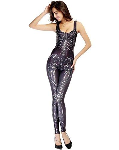 DuuoZy Damen-Skeleton Druck Sexy Jumpsuit Halloween Cosplay Catsuit Tanz-Kostüm , f , black (2 Person Halloween Kostüme)
