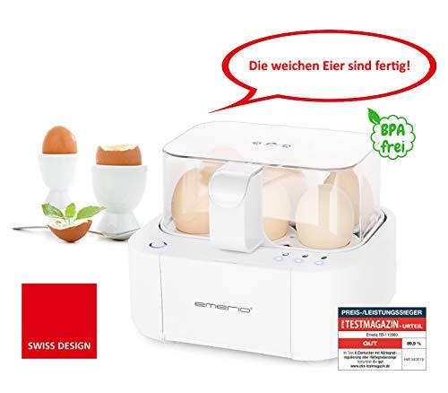 Emerio EB-115560.2 NEUHEIT, kocht alle drei Garstufen [weich|mittel|hart] in nur einem Kochvorgang mit perfektem Ergebnis, Sprachausgabe, einzigartig in Technik und Design 400, Weiß, BPA frei