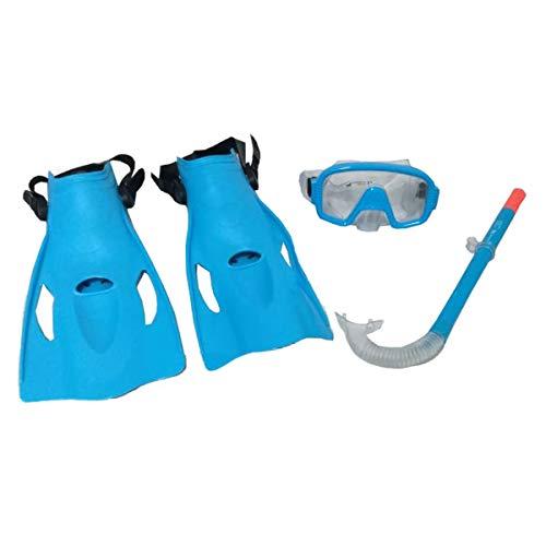 Schnorchelset Taucherbrille mit Silikon-Luftschlauch und Schwimmflossen für offene Snorkel Meer, Pool oder Strand Größe 36-41 Taucherbrille und Schnorchel mit Schwimmflossen Farbe Blau.