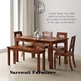 Sarswati Furniture Sheesham Wood Dining Table 6 Seater | Wooden Dinning Room Furniture | 4 Chair & 2 Seater Bench | 1 Table | Balcony Dining Set | Teak Brown