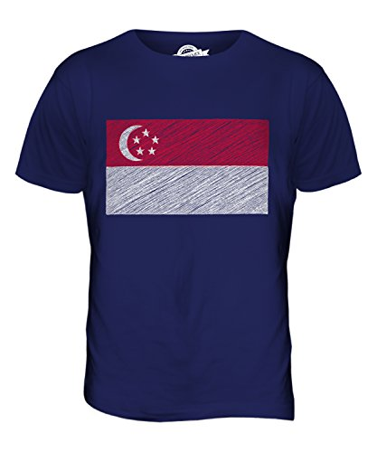 CandyMix Singapur Kritzelte Flagge Herren T Shirt Navy Blau