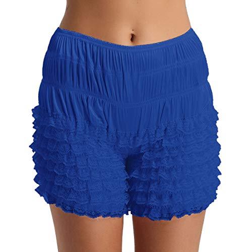 FEESHOW Damen Unterhose Slip Sissi Schlüpfer mit Rüschen Spitze Frauen Sicherheits Shorts Unterwäsche Schlafanzug Hose Shorts M-XL Blau L(Taille 74-145cm) Bloomers Boyshort