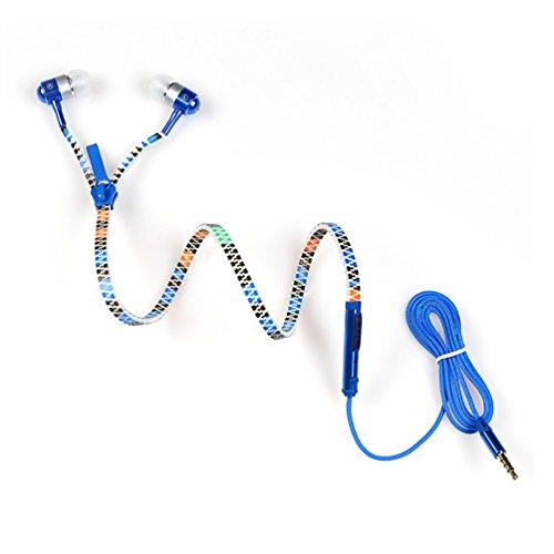 Reißverschluss-ohrhörer Mic (LoongGate Tiger Pattern Zipper Ohrhörer mit MIC und Fernbedienung - Glow in Dark Anti Verwicklung 3,5 mm Stereo Jack Wired Headset - Geschenk für Jungen, Outdoor, Sport)