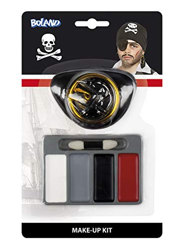 Kostüm Accessoires Zubehör Kinder Piraten Make-Up Set mit Augenklappe und Ohrring, Pirate Make Up Kit with Eyepatch and Earring, perfekt für Karneval, Fasching und Fastnacht, ()
