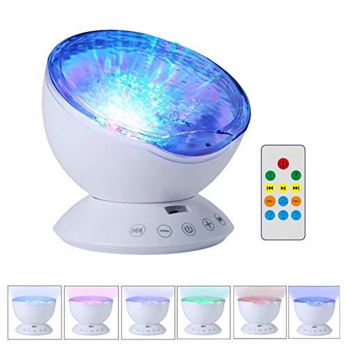 DAKANG Fernbedienung Ocean Wave Projektor Nachtlicht, 7 Bunte Licht Musik Player Und Timing Close Funktion Für Das Wohnzimmer Im Kinderzimmer