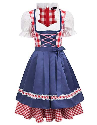Heidi Kinder Kostüm - KANCY KOLE Damen Mädchen Oktoberfest Kostüm Oktoberfest Kleid Dirndl Retro Trachtenmode Navy Blau X-Large