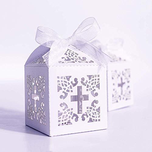 Jiaxingo 32 Stück/Lot DIY Crossing Candy Boxes Angel Gift Box für Baby Shower Taufe Geburtstag Erstkommunion Taufe Ostern Dekoration - Angeln Geburtstag Dekorationen