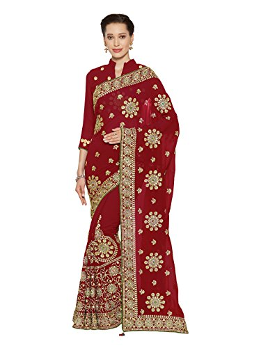 SOURBH Women's Heavy Embroidered Wedding Bridal Saree with blouse piece (3781_Red)