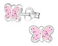 Idea Regalo - Laimons Kids Orecchini a pressione per bambini gioielli per bambini Farfalla Rosa Con brillantini Argento Sterling 925