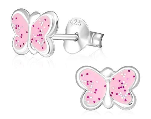 Laimons Kids Orecchini a pressione per bambini gioielli per bambini Farfalla Rosa Con brillantini Argento Sterling 925